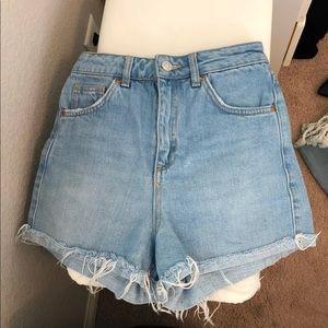 Topshop High Waisted Denim Mom Shorts